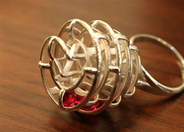 香港设计师3D打印红宝石滚珠动能戒指